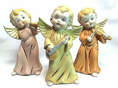 HOMCO Angel Figurine Set 3 Porcelain Bisque Musical Instruments Heavenly #5400