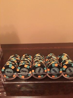 100 (one full rack) $100 Paulson Top Hat & Cane Poker Chips barely used