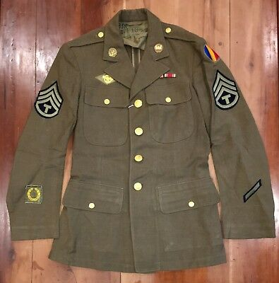 Nice Wwii Us Army Field Service Four Pocket Jacket With Irtc Patches 35R Ww2 Gi