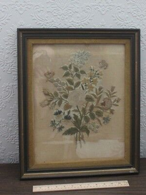 Exquisite French 18thC Silk Rose Floral Framed Hand Embroidery Needlework c1780