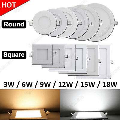 3W 6W 9W 12W 15W 18W Recessed LED Panel Light Epistar Ceiling Down Lights Lamp