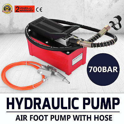 Air Hydraulic Foot Pump + Hose + Air Hose For Hydraulic Ram Cylinders