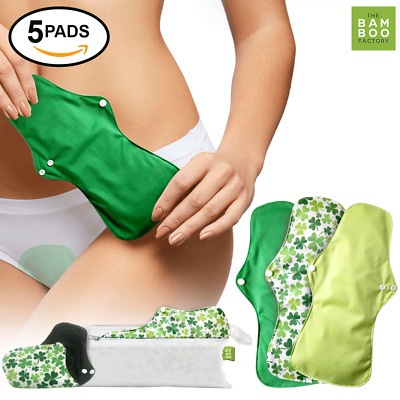 Bamboo Charcoal Reusable Sanitary Pads Menstrual Heavy Flow Absorbency Layer 5ct