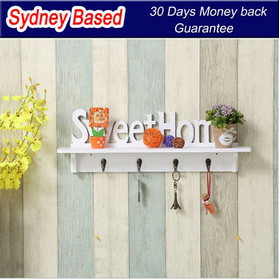Sweet Home Floating Shelf With Hooks For Coat Keys Clothes Rack