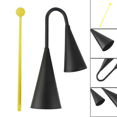 Metal Two Tone Cowbell with Plastic Striker Percussion Instrument - Black^