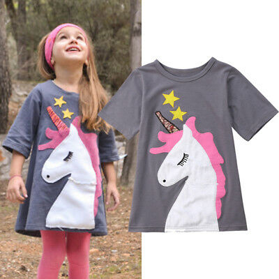 AU Stock Sunsuit Sundress Baby Girl Dress Unicorn Dresses Casual Outfits Clothes