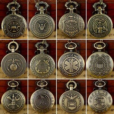 Vintage US Army theme Antique Pocket Watch Quartz Pendant Necklace Chain Gift US