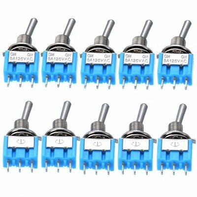 10PCS AC 125V/3A Mini Micro SPDT On/On 2 Position Miniature Toggle Switches