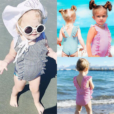 AU Stock Kids Baby Girls Striped Swimwear Swimsuit One-piece Bikini Bathing Suit