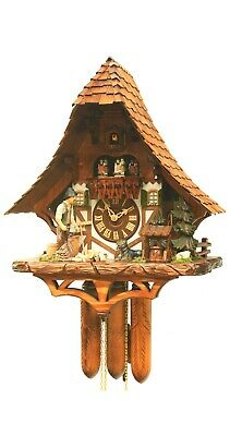 Cuckoo Clock Black Forest house with moving wood chopper RH 4568 NEW