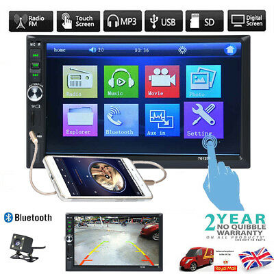 """2 Din 7"""" Touch Screen FM Bluetooth Radio Audio Stereo Car Video Player UK STOCK"""