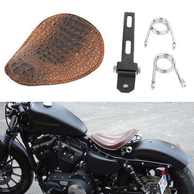 Brown Motorcycle Spring Bracket Solo Seat For Harley Chopper Bobber Sportster