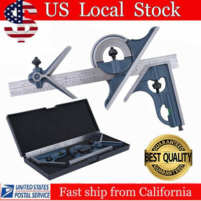"12"" Combination Tri Square Set Angle Finder & Protractor Level SAE & Metric HP"