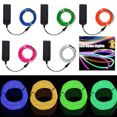1M 5m Neon LED Lights Glowing EL Wire LED Strip Tube Car Dance Party Decoration