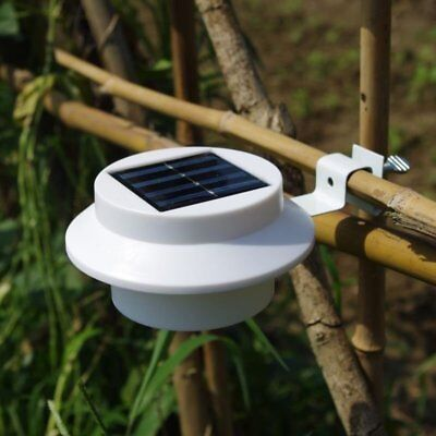 3 LED Solar Powered Gutter Light Outdoor Yard Garden Fence Wall Pathway Lamp