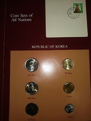 Coin Sets of All Nations Korea w/card 1983-1987 UNC 10,50 Won 1987 500 Won 1983