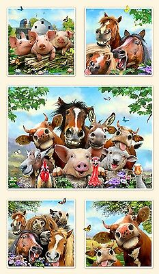 Farm Selfies Quilt Panel * Cute Smiling Farm Animals * New * Free Post *