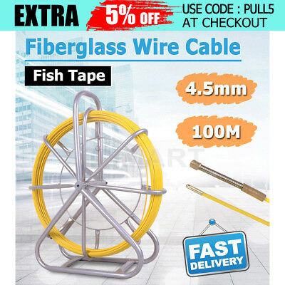 4.5mm 100M Fiberglass Wire Cable Running Rod Fish Snake Rodder Puller Flexi Lead