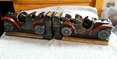 Vintage Antique Cars- Pair of Matching Book Ends w/ felt on bottom Japan Ceramic