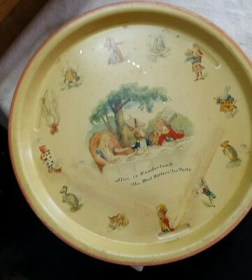 """Alice in Wonderland's Mad Hatter's Teaparty Round TRAY - TEXAGEM 301 England 12"""""""