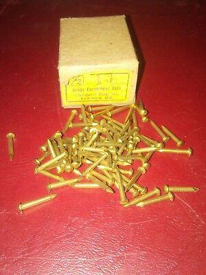 "Vtg.1/2"" Brass 15 Guage Nails-200+ Each Box-Escutcheon-Clock Repair-Steampunk"