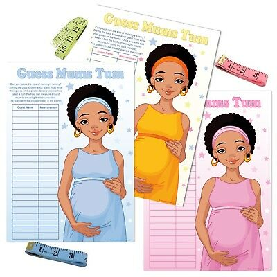 BABY SHOWER GAME - Ethnic Mummy, Guess Mums Tum, Blue Boy Pink Girl Unisex Party