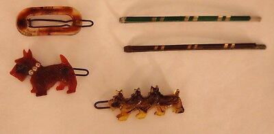5 Authentic Vintage 1940's Barrettes-Scottie Dogs-Art Deco Bobby Pins-Flapper