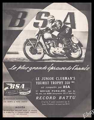 Publicité BSA Moto Motocyclette Motocycle Vintage Ad Advertising 1953