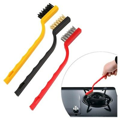 House Cleaning Kit 3 pieces Plastic Handle Mini Brush Black + Red + Yellow O2T8