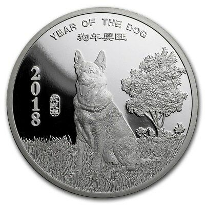 Chinese Lunar Calendar Year of the Dog 2018 1 oz .999 Silver Round