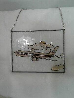 "Vintage American Airlines stained ""glass"" picture 8.250 x 10.250"