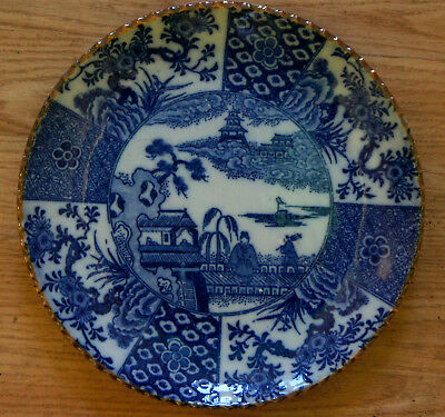 Japanese  painting art  blue and white bowl plate