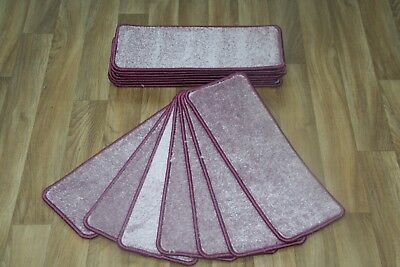 14 Open Plan Carpet Stair Treads Quality Manhattan Lilac Pads! 14 Large Pads!