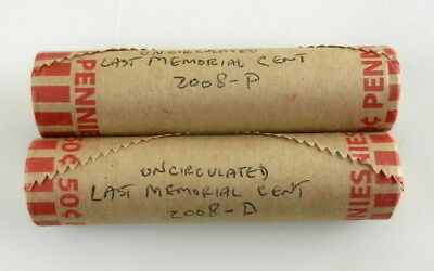 2008-P & D Lincoln Penny Uncirculated Last Memorial Cent Rolls Bank Wrapped  C8