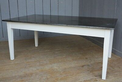 Bespoke Made To Measure Natural Zinc Top Kitchen Table - ANY SIZE/COLOUR