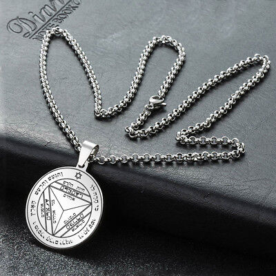 Pentacle Saturn Talisman Seal Solomon Kabbalah Hermetic Silver Pendant Necklace