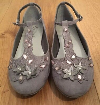 Pair Of Girls Grey Suede Crystal Party / Bridesmaid Shoes - Next Size 4