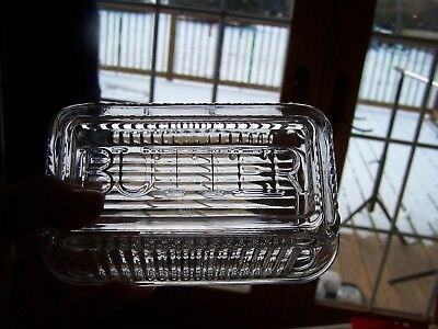 Vintage Clear Ribbed 1 Pound Refrigerator Butter Dish Raised Letters