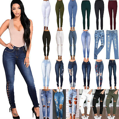 Womens High Waist Skinny Jeans Demin Slim Stretch Trousers Elastic Pencil Pants