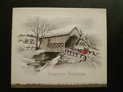 Vintage 1950s Christmas Greeting New Year Card Xmas Mid Century