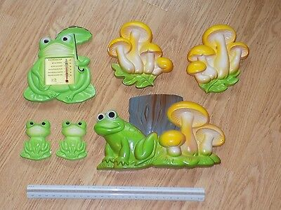 6pc VINTAGE MILLER STUDIO 1978 & 1979 CHALKWARE FROGS & BATHOMETER THERMOMETER