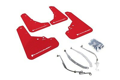 Rally Armor UR Red Mud Flap w/ White Logo for 2012+ Fiat 500 Pop/Sport/Lounge