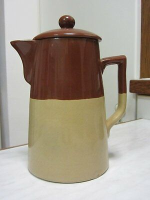 ART DECO vintage BOURNE DENBY two tone brown PINT size FILTERING COFFEE POT
