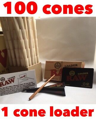 raw cone loader + raw organic pre roll cone 1 1/4 (100 pack)