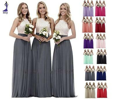 Lace Chiffon Evening Formal Party Ball Gown Prom Wedding Bridesmaid Dress 6~26