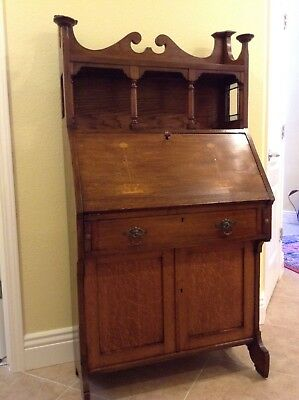 English Antique Arts & Crafts Dropleaf Desk/cabinet Stained Glass&Inlay -PICKUP