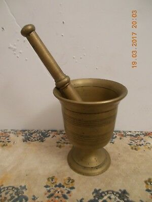 Primitive Antique Heavy Solid Brass Apothecary Mortar And Pestle Set Pharmacy