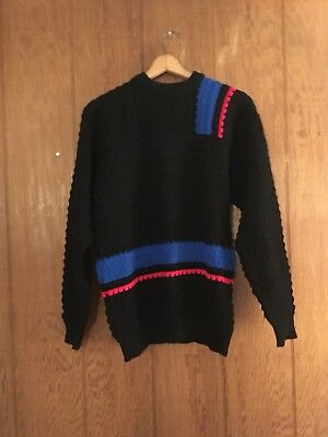 Vtg 60s Black cobalt blue red block stripe Textured Ski Sweater Van Cort L