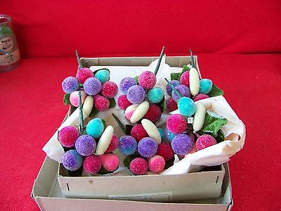 Vintage 1950's Crystallize Fruit Pins Old Stock NEW in box 1 Doz.Japan