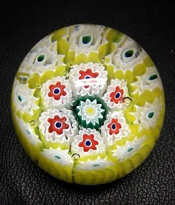 Vintage Glass Paperweight Daisies Dome Shaped